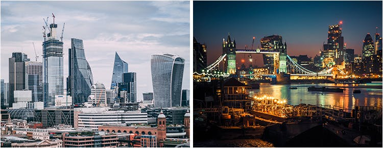 Collage of Photographs of London Cityscape, including the Shard and London Tower Bridge