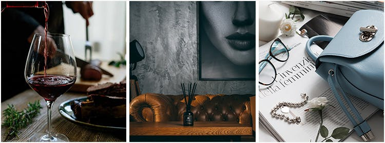 Collage of Luxury Handbags and Fine Dining Images UK