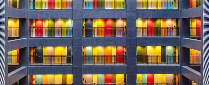 colourful Benidorm apartment doors